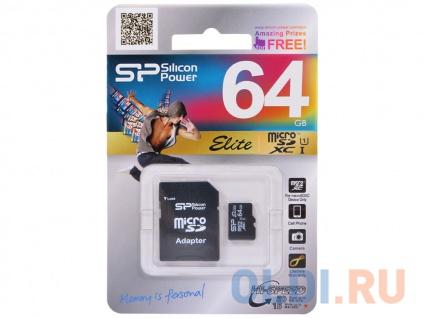 Фото «Карта памяти MicroSDXC 64GB Silicon Power Elite UHS-I U1 + SD Adapter» в Санкт-Петербурге