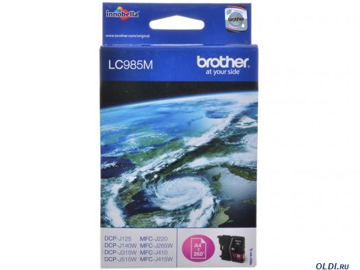Фото «Картридж струйный Brother LC985M пурпурный (magenta) 260 стр.» в Москве
