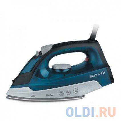 Фото «Утюг Maxwell MW-3044(В), 1800 Вт., подошва из нержавеющей стали, паровой удар, синий» в Екатеринбурге