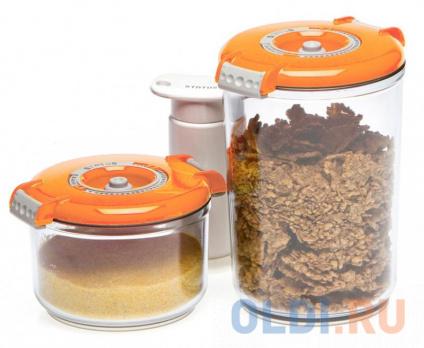 Фото «Набор контейнеров для вакуумного упаковщика Status VAC-RD-Round оранжевый» в Москве