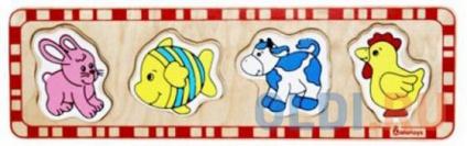 """Фото «Рамка-вкладыш 5 элементов alatoys """"Заяц, рыбка, корова, петух""""  ПЗЛ1002» в Ростове-на-Дону"""