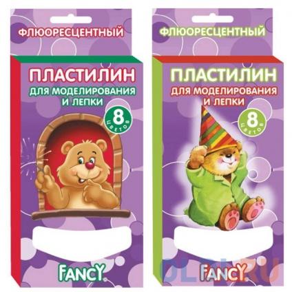 Фото «Пластилин FANCY флюоресцентый, 8 цв, 60 гр, карт. уп. с европодвесом, 2 дизайна» в Екатеринбурге