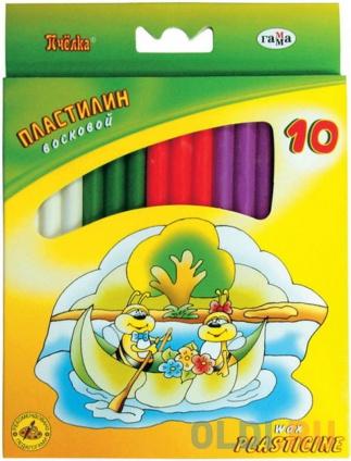 Фото «Пластилин восковой ПЧЕЛКА со стеком 10 цв.,123г, картон. уп. с европодвесом» в Екатеринбурге