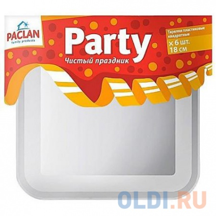 Фото «PACLAN Party Тарелка из полистирола квадратная 180мм 6шт» в Москве