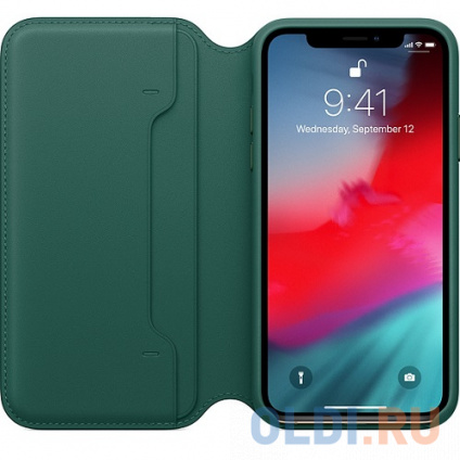 Фото «Чехол-книжка для iPhone XS Leather Folio Forest Green» в Екатеринбурге
