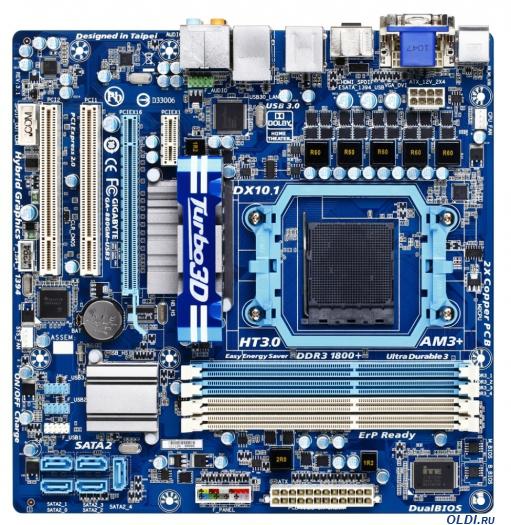 Фото «Материнская плата GIGABYTE GA-880GM-USB3 <SAM3+, AMD 880G, 4*DDR3, PCI-E16x, SATA RAID, USB 3.0, GB Lan, mATX, Retail>» в Москве